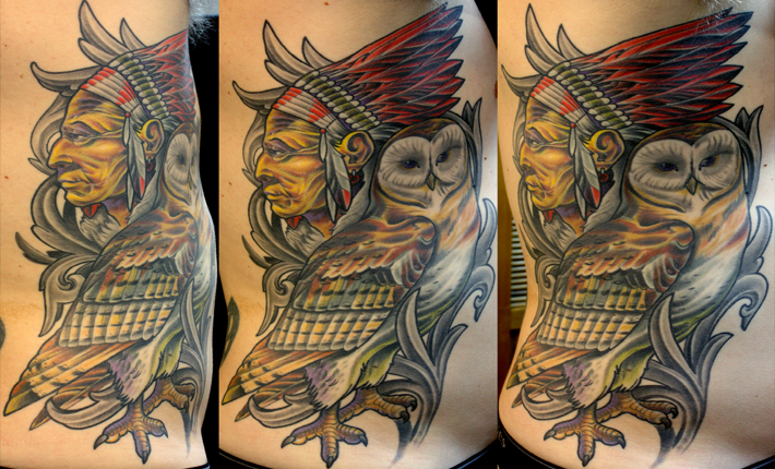 Native American and Barn Owl Tattoo