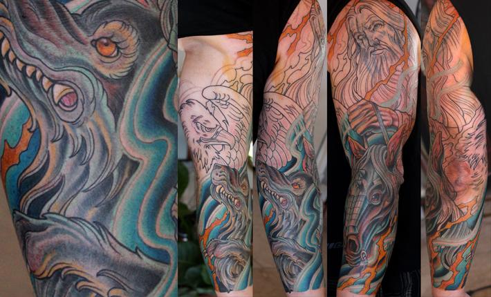 Terry Ribera tattoos Odin at San Diego's best tattoo shop Remington Tattoo