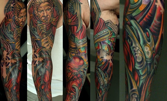 Terry Ribera and St. Michael at San Diego's best tattoo shop Remington Tattoo